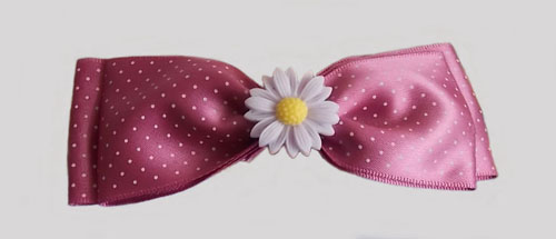 Dark Pink Polka Dot Double Bow Hairclip