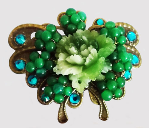 Antique Bronze Butterfly with Green Jade Beads Flowers Brooch