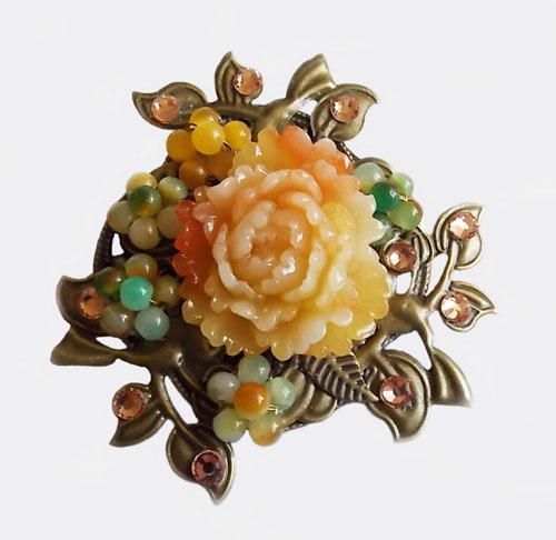 Antique Bronze Birds with Orange Peony Brooch