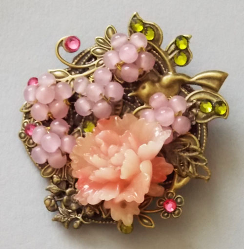 Antique Bronze Birds with Pink Peony and Jade Beads flowers Brooch
