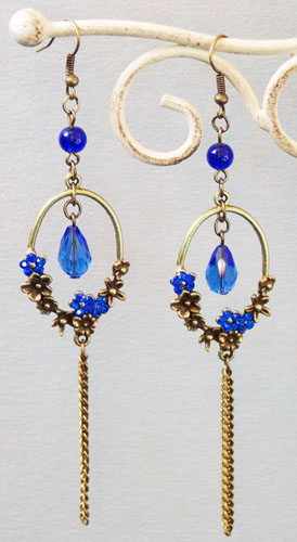 Plum Flower Ring Earrings (Blue)