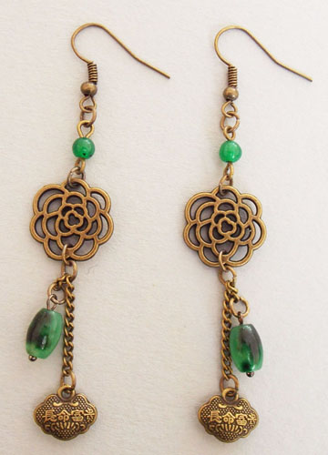 Flower and Chinese Lock Earrings (Green)