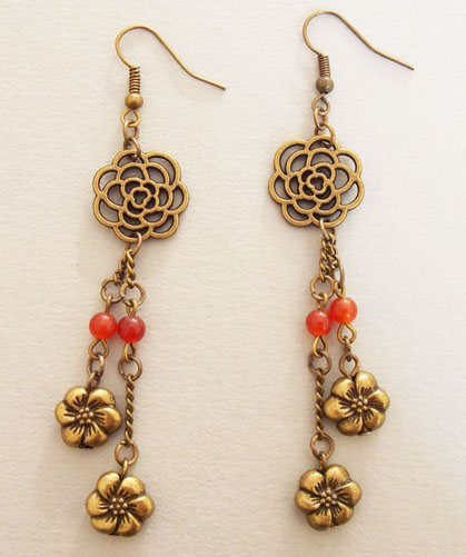 Metal Blossom with Red Agate Beads Earrings