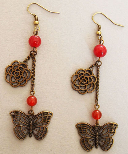 Butterfly and Flower Earrings (Red)