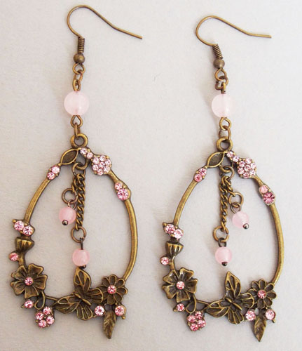 Blossom and Butterfly Ring Earrings (Pink)