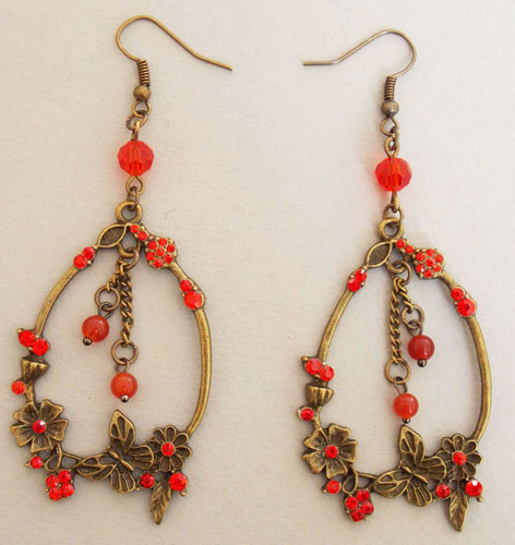 Blossom and Butterfly Ring Earrings (Red)