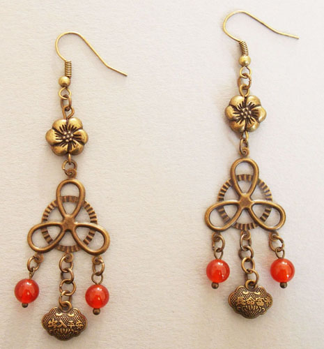 Plum Flower with Chinese Lock Earrings (Red)
