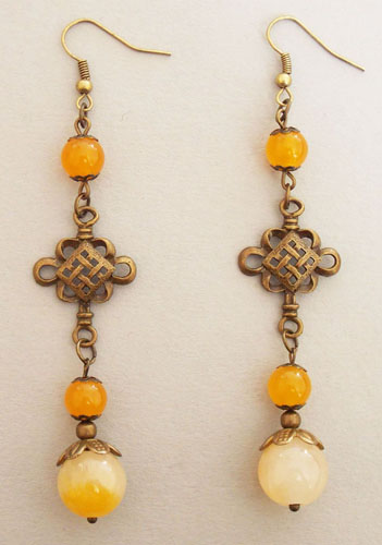 Antique Copper Cross Knot with Orange Jade Beads Earrings