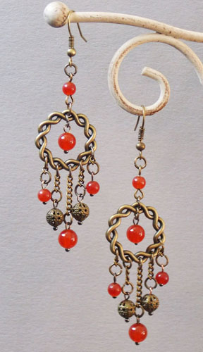 Ring and Agate Beads Earrings