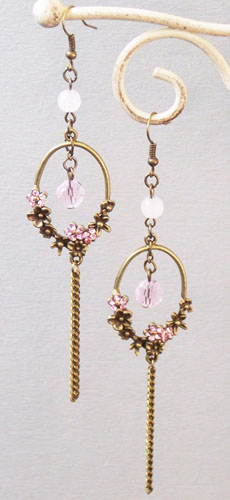 Plum Flower Ring Earrings (Pink)