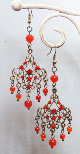 Antique Copper Wind Chime Earrings (Red)