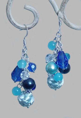 Aqua Blue Button Knots Glass Crystal Earrings