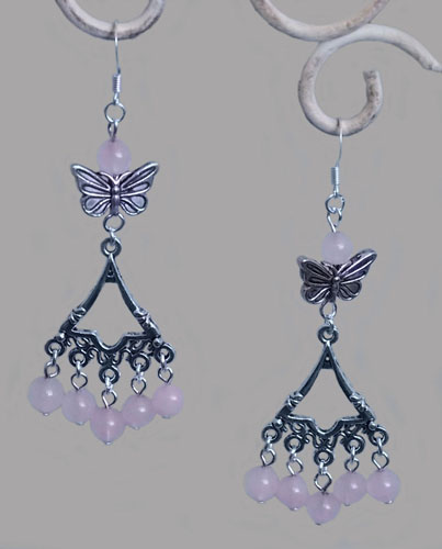 Bell and Butterfly Earrings (Pink)