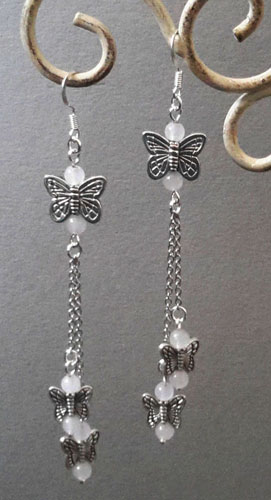 Butterfly with Chain Earrings (White)