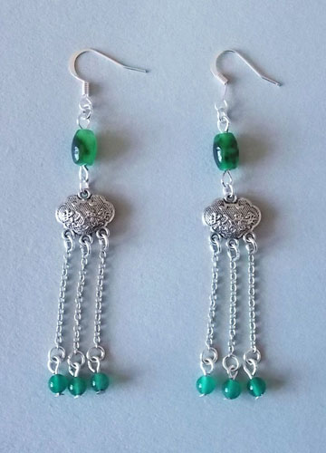 Chinese Metal Lock Earring (Green)