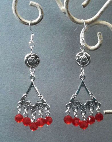 Bell and Rose Earrings (Red)