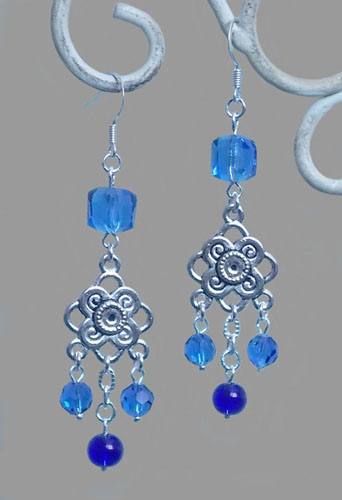 Metal Knots with Blue Crystal Beads Earrings
