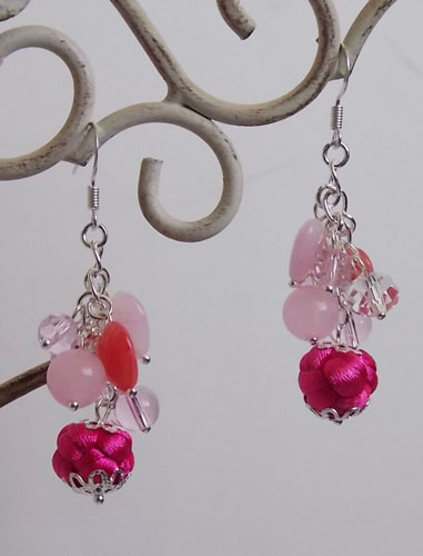 Exquisite Pink Button Knot with hearts Earrings