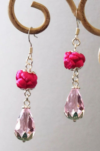 Exquisite Pink Button Knot with Water Drop shape Crystal  Earrings