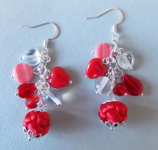 Exquisite Red Button Knots with Hearts Earrings
