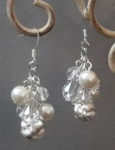 Exquisite white Button Knot with water drop crystals Earrings