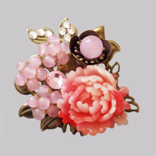 Antique Bronze Pink Peony with Pink Plum Beads Flowers Hair Pin