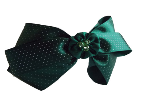 Dark Green Polka Dot Oversize Bow Headband