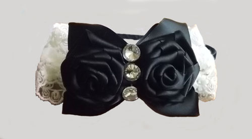 Black Double Rose with White Lace Bow Headband