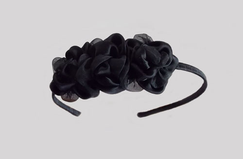 Black Triple Roses Headband