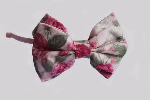 Pink Floral Printed Cotton Double Bows Headband