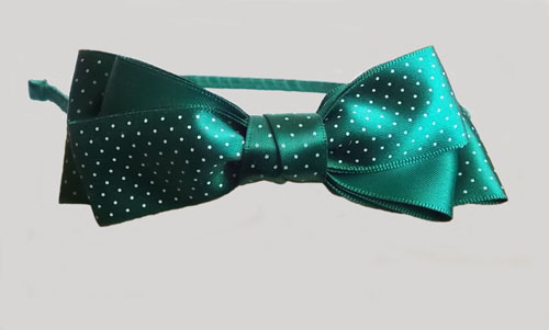 Dark Green Satin Triple Bows Headband