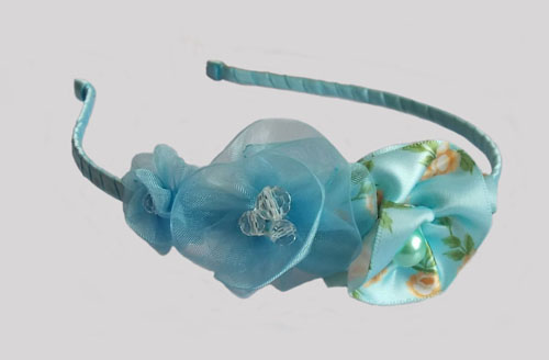 Sky Blue Triple Morning Glory Headband