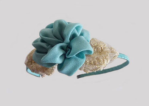 Turquoise Camellia with Golden Lace leaf Headband