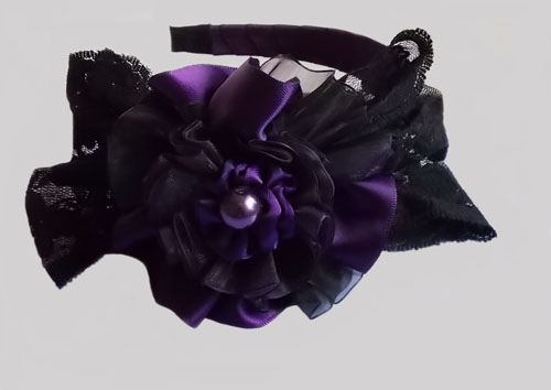 Purple Gothic Lace Bow Headband