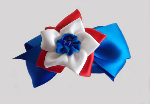 Red and White Dahlia with Royal Blue Satin Oversize Bow Headband