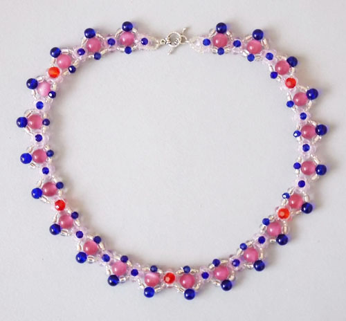 Pink and Blue Glass Beads Necklace