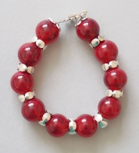16 mm Red Glass Marble Beads Bracelet