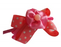 Pink Rose Polka Dot Bow Headband