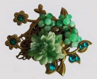 Antique Bronze Bird with Small Green Peony Brooch