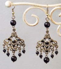 Antique Copper Wind Chime Earrings (Black)