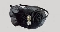 Black Double Roses Headband