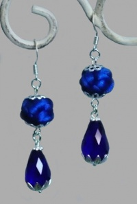 Royal Blue Chinese Button Knot with Water Drop Earrings