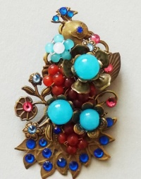 Antique Bronze Peacock with Blue Flowers Brooch