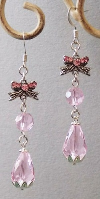 Pink Water Drop Crystal with Bowss Earrings