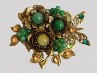 Antique Bronze Butterfly and Birds with Green Flowers Brooch