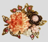 Antique Bronze Butterfly and Bird with Pink Chrysanthemum Brooch