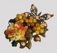 Antique Bronze Butterfly and Bird with Small Orange Peony Brooch