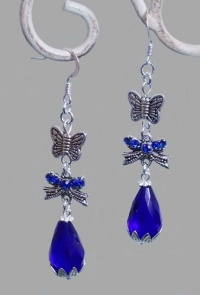 Blue Water Drop Crystal with Butterflies Earrings