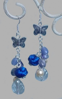 Exquisite Blue Button Knot with Butterfly Earrings