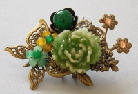 Antique Bronze Butterfly with Green Peony Hair Pin